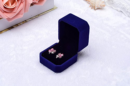 Fashion Velvet Engagement Wedding Earring Ring Pendant Jewelry Display Box Blue, Housekeeping & Organizers, for Christmas New Year (BU)