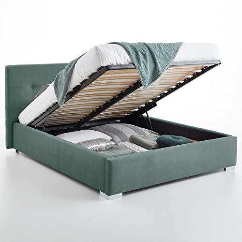 Bett mit Bettkasten Betty Samt-Stoff Polsterbett Lattenrost Doppelbett Stauraum Chromefuß (Mint, 140 x 200 cm)