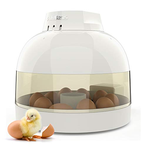Life Basis Egg Incubator with 16 Digital Fully Automatic Small Poultry Hatcher Auto Temperature and Humidity Control for Chickens Ducks Goose Birds Family Use (Rose White)