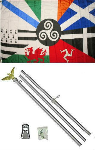 New They can be used indoors or outdoors.3x5 Celtic Nations Flag Aluminum Pole Kit Set 3'x5'.The authentic design is based on information from official sources