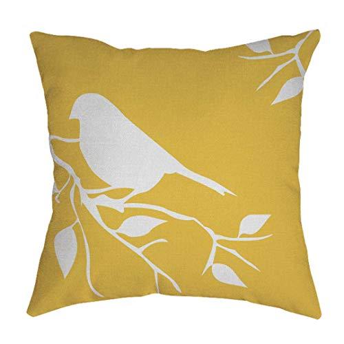 wuayi Kissenbezug, Blumen-Vogel-Muster, Baumwolle, Leinen, quadratisch, dekorativer Überwurf-Kissenbezug, Schutz für Zuhause, Sofa-Dekor (gelb)