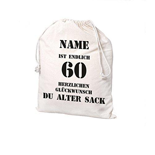 Herz & Heim® Geschenksack mit Namensaufdruck - Motiv: Alter Sack 60