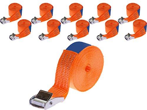 Industry Planet 10 x 250 kg daN 4m professionele spanbanden met klemslot 25mm spanriemen bevestigingsriemen DIN EN 12195-2