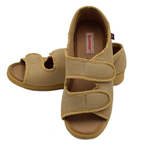 Zapatos ortopédicos para Mujeres Hombres Punta Abierta Velcro Ajustable Zapatos Extra Anchos Pies hinchados Botas de Edema diabético Zapatillas, Sandalias de Interior Unisex para Exteriores,Beige,36