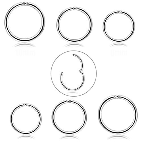 FIBO STEEL 6 Pcs 6-10mm Stainless Steel 18g Cartilage Hoop Earrings for Men Women Nose Ring Helix Septum Couch Daith Lip Tragus Piercing Jewelry Set Silver-Tone (B2:6 Pcs Silver-Tone (18G))