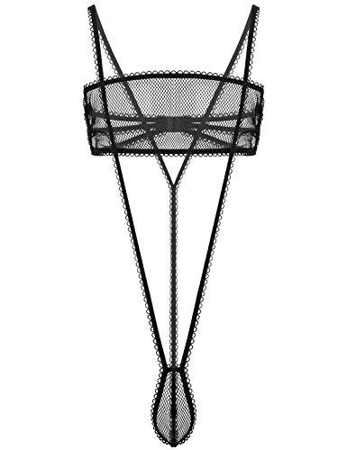 inlzdz Herren Body Durchsichtig Unterwäsche Set Männer Netz BH Oberteil mit String Tanga Thong Ouvert-Stringbody Nachtwäsche Schwarz Large