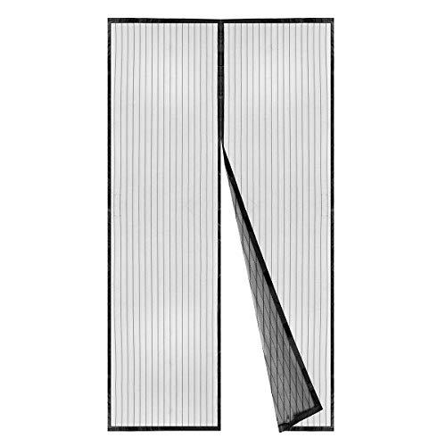BricoShopping Zanzariera Magnetica a calamita con 18 magneti per balcone e porta finestra fissaggio rapido su finestre e balconi in Legno e Alluminio Senza Mantovana (120x240 cm, Nero)