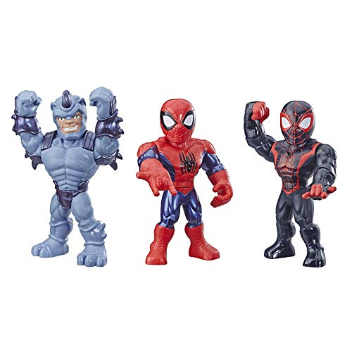 Playskool Heroes Mega Mighties Marvel Super Hero Adventures Web Warriors 3 Pack, Spider-Man, Kid Arachnid, Marvel's Rhino, 10