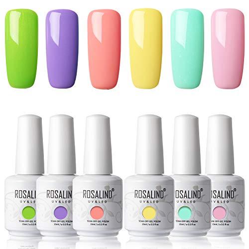 Rosalind - Esmalte de uñas semipermanente de 15 ml, color amarillo, azul, 7 unidades…