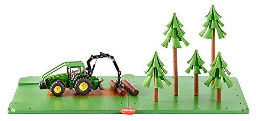 SIKU 5605 - Forst-Set mit Traktor, 2 Grundplatten und 5 Bäumen, Kunststoff, Viele Funktionen, grün