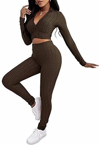 ASKSA Conjunto de 2 piezas de ropa deportiva para mujer con cremallera de manga larga Crop Top + leggings conjuntos de ropa para fitness, jogging, yoga, ropa de ocio, A café, XL