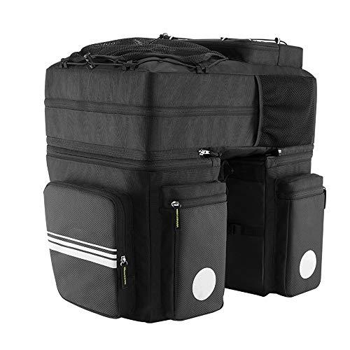 Fahrrad-Kamel-Tasche Große Kapazität 48L Magic Bike Bag Fahrrad Gepäckträger Tasche Reflektierende Rücksitz Fahrrad Rucksack Tasche for Radfahren Schwarz Trinkrucksäcke ( Color : Black , Size : 48L )