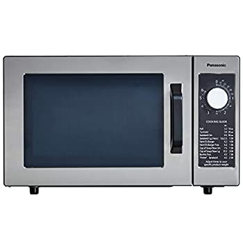 Panasonic NE-1025F Compact Light-Duty Countertop Commercial Microwave Oven with 6-Minute Electronic Dial Control Timer Bottom Energy Feed 1000W 0.8 Cu Ft Capacity Silver