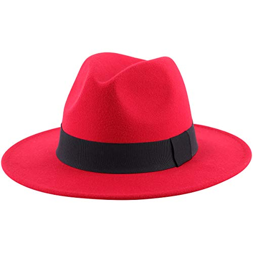 Lanzom Women Wide Brim Warm Wool Fedora Hat Retro Style Belt Panama Hat (Red, One Size)