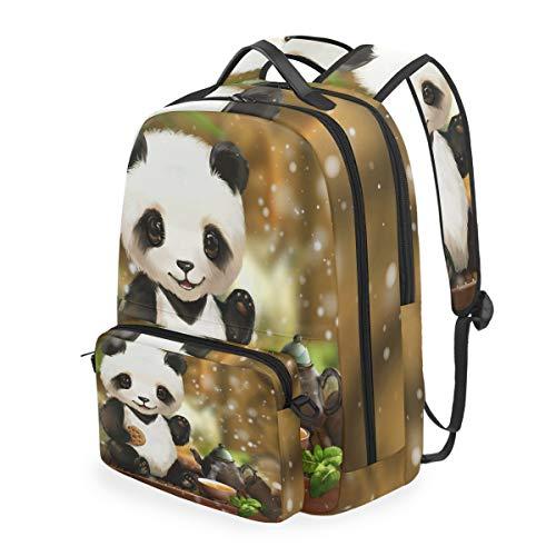 CPYang Schulrucksack, niedliches Tier-Panda-Tee, abnehmbare Schultertasche, für Reisen, Laptop, Rucksack für Mädchen Jungen und Damen