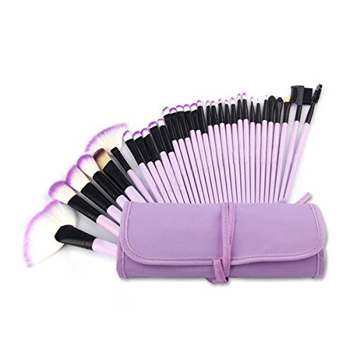 ECYC® Professional 24pcs Poignée en bois naturel Ensemble de brosse maquillage avec étui, violet