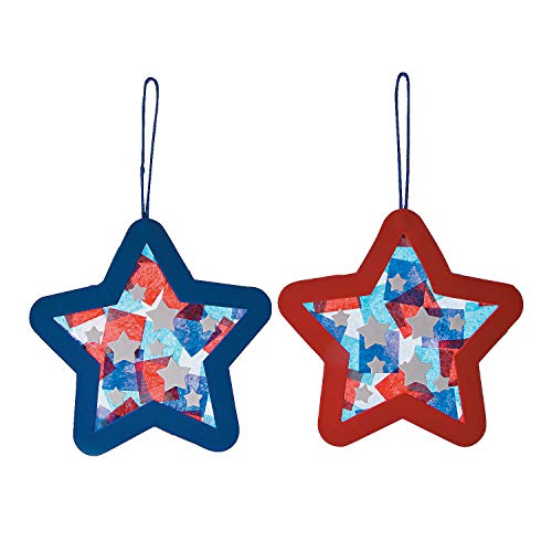 Tissue Acetate Patriotic Star Orna Craft Kit - - Crafts for Kids and Fun Home Activities
