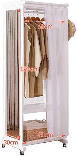 FVGH Vloergemonteerde kapstok met spiegel. Met poelie Doorlopende spiegel Stofgordijn Europese stijl hout Hangers Slaapkamer woonkamer A