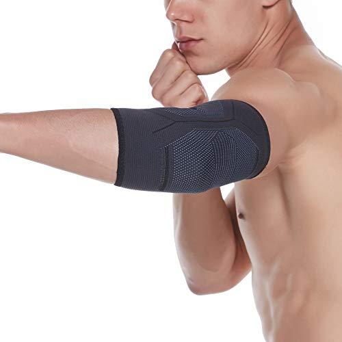 Lucakely Ellenbogenbandage Ellenbogen-Bandage für Damen Herren, für Tennisarm Kraftsport, Golferarm, Handball (L, Schwarz)