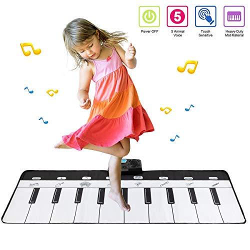 Babyhelen Klaviermatte Piano Mat Tanzmatten Musikmatte Kinder 8 Instrumentenklang Klaviertastatur Spielzeug Musik Matte, Keyboard Matten Spielteppich Baby Tanzmatte für Jungen Mädchen Kinder 110*36 cm