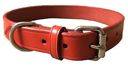 Fait main en cuir souple rouge collier pour chien formation solide Taille M/L Terrier épagneul Labrador (Grand (55 cm))