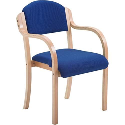 Office Furniture Online Stapelbarer Stuhl mit Armlehnen & Holzrahmen   Devonshire   Blau