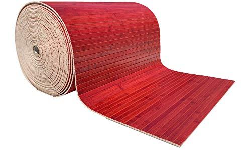 MG Italia Bambus-Teppich Läufer 1 Meter (rot)