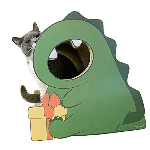 Little Dinosaur Cat Scratch Board Pad - Comfortabel kitten Slaapbank Katten Klauwen Verzorgingsspeelgoed Slijpnagelschraper Mat, grappig huisdierenspeelgoed