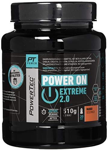 POWERTEC SUPPLEMENTS Power On Extreme 2.0 - schärferer Fokus, mehr Energie, höhere Leistung & besserer Pump - Mango, 510 g