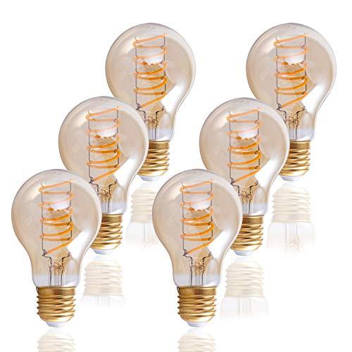 LED Glühbirne Für E27 Fassung, Vintage Leuchtmittel m. Bernsteinglas, Dimmbar, Farbe:Bernstein 6er Set