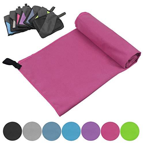 Glamexx24 Microfiber handdoeken met pocket reishanddoek perfecte sporthanddoek XXL strandlaken sauna yoga in alle maten
