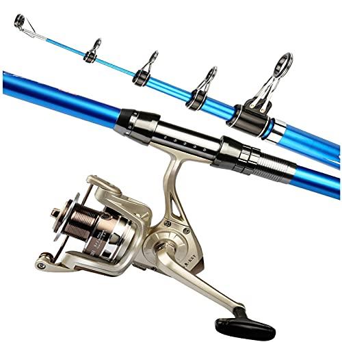 Pesca Rod Barra de pesca telescópica y carrete Combos Kit completo Pole de pesca de fibra de carbono con ruedas de hilado oblicuas suaves y de agua salada y equipo de pesca de agua dulce telescópico c