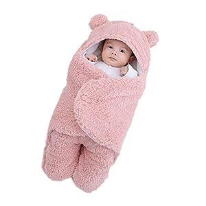 JUEJIDP Mantas envolventes para bebés recién Nacidos, Saco de Dormir de Oso Grueso de Felpa ultrasuave, Manta de recepción, Cochecito, Cama, Accesorios para bebés, Regalo de Ducha Esencial, Rosado,M