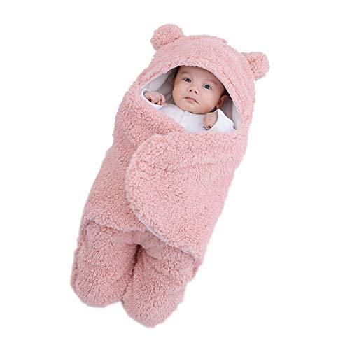 JUEJIDP Mantas envolventes para bebés recién Nacidos, Saco de Dormir de Oso Grueso de Felpa ultrasuave, Manta de recepción, Cochecito, Cama, Accesorios para bebés, Regalo de Ducha Esencial, Rosado,L