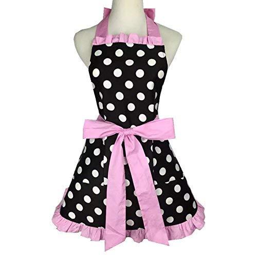 Zeronal Flirty Apron with Pocket, Retro Sexy Kitchen Cooking Apron for Women Girls Polka Dots Black Pink