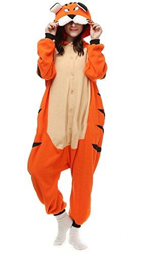 Unisex Animal Pijama Ropa de Dormir Cosplay Kigurumi Onesie Tigre de Bengala Disfraz para Adulto Entre 1,40 y 1,87 m
