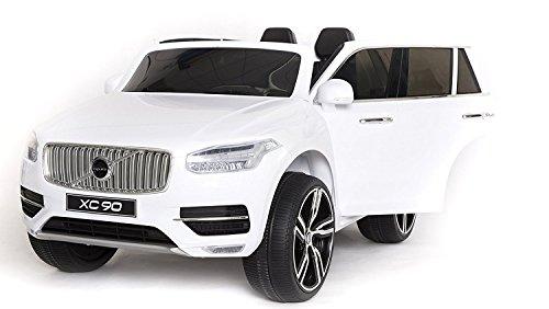 RIRICAR Volvo XC90 Voiture-Jouet électrique pour Enfant, Blanc Peinture, 2.4Ghz contrôle á Distance, Deux Moteurs, Deux sièges en Cuir, Roues EVA Douces, Licence Originale