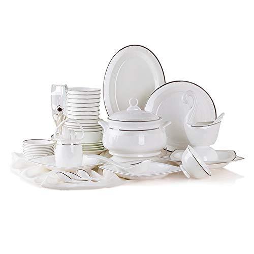 DGYAXIN Juego de vajilla 58 Piezas de Porcelana Estilo Minimalista Occidental con patrón de Relieve Blanco, con Plato de Pescado Juego de cucharas y cestas para Flores Adecuado para 10 Personas