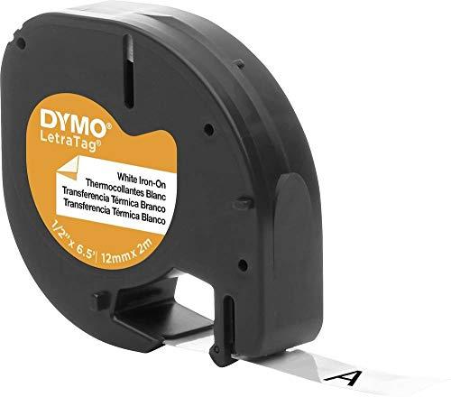 Dymo 18768 LT-Etiketten (Rolle mit den Maßen 12 mm, 2-Meter-Rolle, aufbügelbar für LetraTag-Drucker) schwarz auf weiß