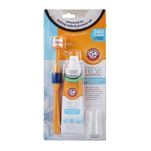 Arm & Hammer Fresh Spectrum Puppy Dental Kit for Small Dogs | Puppy Tooth Brushing Kit 360 Degree Dog Toothbrush, 2 oz Baking Soda Toothpaste, Finger Brush | Cleans Plaque and Tartar