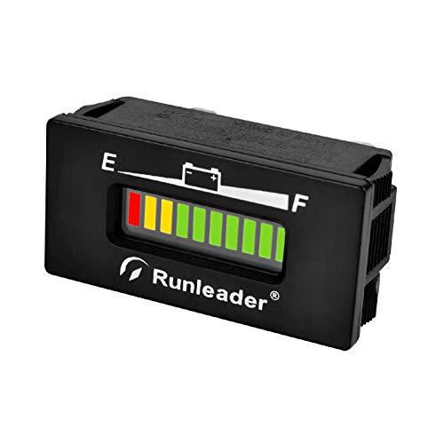 Runleader LED medidor de batería, voltios 12 V a 48 V, Estado de Carga y Descarga de la batería para la máquina fregadora de la Carretilla elevadora Club Car, Remolque de Viaje(RL-BI028-12/24V)