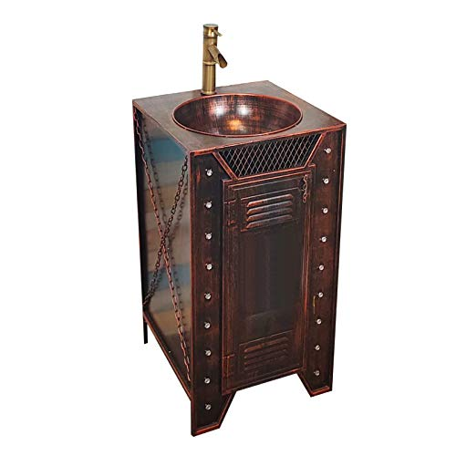 ZTGL Mueble Lavabo Estilo Industrial, Mueble Bajo Lavabo con Pie Suelo, Anticorrosión y Antioxidante Mueble Lavabo de Hierro Forjado,Copper