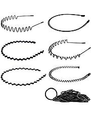 MELLIEX 6 Stks Spring Wave Hoofdband, Zwart Elastische Haar Hoop Unisex Metalen Haarband Golvende Kam Haarbanden Accessoires voor mannen en vrouwen