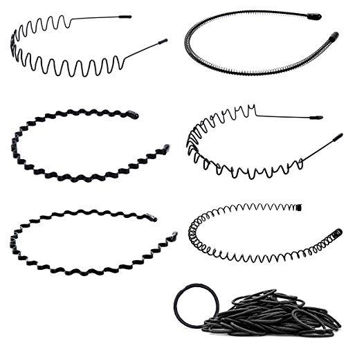 6 Stück Metall Haarreif Herren, Schwarz Haarreifen Unisex Wave Haarband Spring Haarbänder Multi-Style Stirnband Zubehör für Outdoor Sports Yoga mit Gummiband