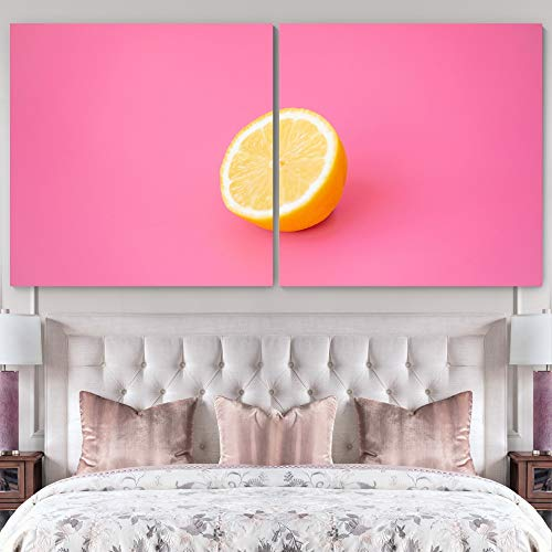 """bestdeal depot Vibrant Orange 2 Panel Canvas Wall Art Prints for Living Room,Bedroom Ready to Hang - 24""""x24"""" x 2 Panels"""