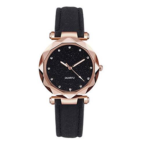 TZX Damenuhr, Damen-Armbanduhr Metall, Gürtelschnalle, Funkelnde Sterne, bereift Zu, Elegante Art und Weise beiläufige und einfache Atmosphäre Uhr,B
