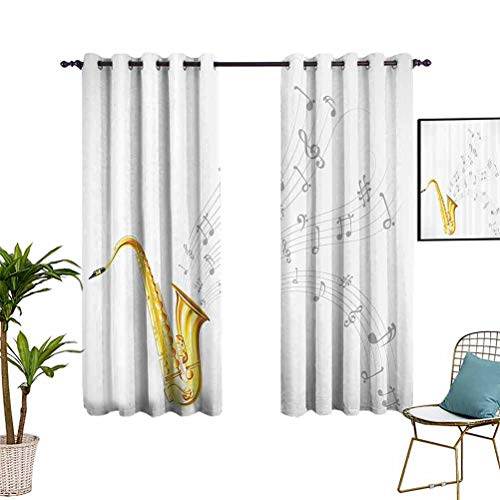 Jazz Music Decor Collection Luxury Curtain Window Panel Set Illustration of Wavy Music Tune from Saxophone Solo Party Beat Fun Art Home Decor 100% Room Darken for Kid's Bedroom 52'x63' Golden White