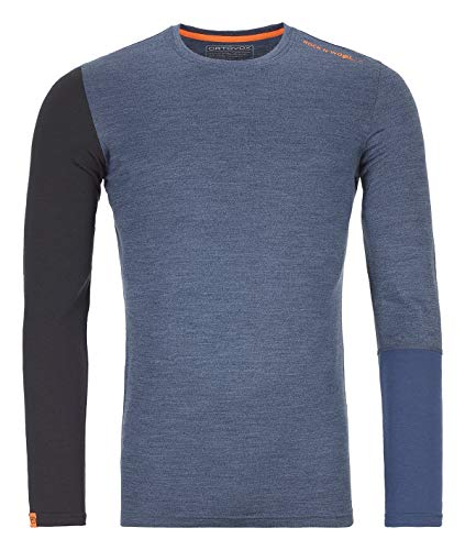 ORTOVOX Herren 185 Rock'n'Wool Long Sleeve, Night Blue Blend, M