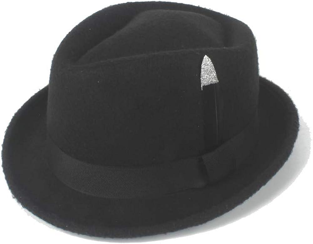 LLPBUA-HAT Retro Fedora Hat Felt Wool Black Silver Feathers Lady Men's Jazz Hat