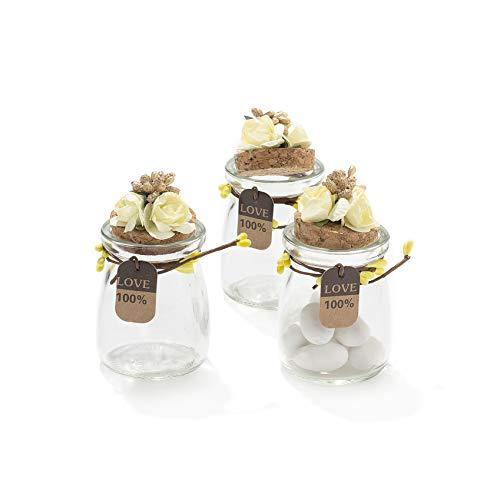 20 Pezzi Barattolo Vetro Con Tappo In Sughero Porta confetti Bomboniera Incluso Decorazione Fatto A Mano Fiore pistilli Etichetta Tema Naturale (GIALLO)